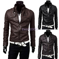 2014 Fashion New Mens Standing Collar Pu Leather Slim Fit Jacket Black/Brown Coat Outwear S-XXL Free Shipping