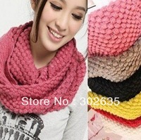 Free Shipping 100PCS/LOT winter solid color scarf winter knitted collar wool yarn Candy color muffler scarf lovers scarf