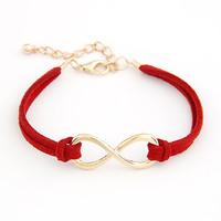 Aliexpress Hot Sale Fashion Jewelry Gold Chain Infinity Symbol Eight Leather Bracelet Gift