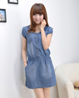 2013 new summer korean style casual and cute lady denim dress short sleeve dress waisted jean mini dress SK-157