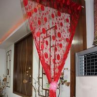 #Cu3 Chic 1X2M Bubble Circle Tassel Door Window String Curtain Drape Bright Red