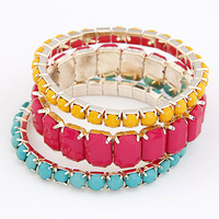 Bright Colors Gold Plated Alloy Resign Beaded Beads Multi Layer Bohemian Stretch Bracelet