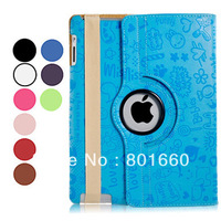 360 Degree Rotating Patterned Faux Leather Flip Case with Stand for iPad 2/3/4