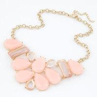 Fashion Korea Sweet Summer Feelings Geometric Necklace Rhinestone Resin Flower Choker Collar  Necklace Wholesale