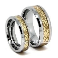 Free Shipping USA Hot Selling Matching Wedding Band, Gold Dragon Tungsten Ring His or Her Bridal Ring 6mm /8mm Width  SIZE 5-14