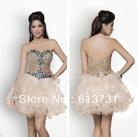 2013 New Fashion Sequin Rhinestones Ruffles Tulles Ball Gown Mini Short Homecoming Dresses Cocktail Prom BL9682
