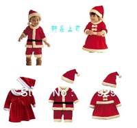2013 Christmas Children Suit Baby Boys Girls Christmas Jumpsuit girls Bow dress + Hat Set Child Clothings 2pieces Kids free ship