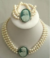 Free Shipping Wholesale/Retail 3Strand 7-8mm White Akoya Pearl Cameo Necklace+Bracelet jewellery set