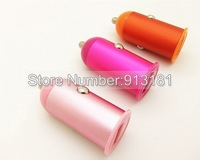 300pcs Real 2A 2000mah Metal Bullet Mini USB Car Charger Adapter for iPad iPhone 5 5G 4S PDA MP3 MP4 all Smart Phone free DHL