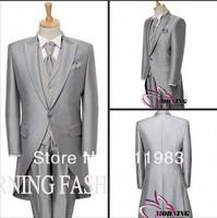 custom made bright silk grey Groom suit morning fashion coat cutaway Men groomsmen tuxedos 2013 New style bridegroom wear suits