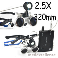 Dental Surgical Medical Binocular Loupes + LED Head Light Lamp Black 2.5X320mm