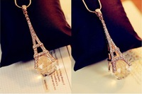 Woman Fashion Vintage Delicacy Eiffel Tower Pendant Necklace Crystal Sweater Chain Cloth Accessories Girl Friend Souvenir Gift