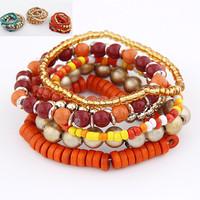 Fashion Euro Bohemia Style Tibet Wooden Beads Strand Multilayer Summer Stretch Bracelet