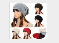 Hot new 2013 women fold cap sleeve head caps hip-hop fashion knitted winter hat wool cap  women's hat 7