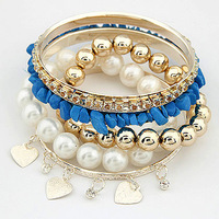 Blue Stone Strand Gold Color Heart Pendant Beads Multilayer Bangle