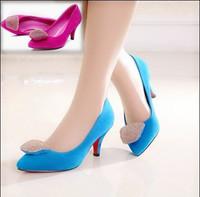 autumn velvet nubuck leather rhinestone thin heels high-heeled pointed toe fashion single shoes blue women's shoes