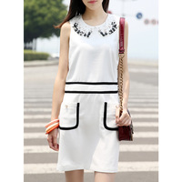 Ladies one-piece dress sleeveless 2013 autumn female handmade vintage brief 2 tank dress free shipping
