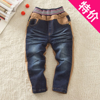 2013 children's autumn and winter clothing male child clothing winter thick plus velvet jeans long trousers