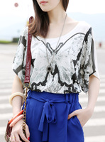 free shipping Loose butterfly women's female short-sleeve batwing sleeve fashion t-shirt 2013 autumn fashion t