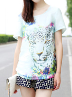 Loose faux silk leopard print chiffon shirt women's t-shirt female short-sleeve 2013 autumn normic mint green fashion t-shirt