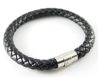 Wholesale Leather Diameter 8mm Man's Black Genuine Leather Twist Chain Stainless Steel Buckle Bracelet 9 inch 5pcs