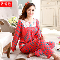 Autumn Long-Sleeve Sleepwear Women 100% Cotton Lounge Twinset Women's At Home Clothing Casual 2 pcs Set Sleeping Clothes
