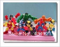 Free shipping Super Heros Squad+SpiderMan+Captain America+Hulk+Iron Man+Wolver+The Thing 8 pcs Mini Figure