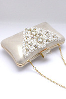 2013 Free Shipping High Quality Fashion  Classic Pearl Beads Rhinestone Evening Bag LC74008