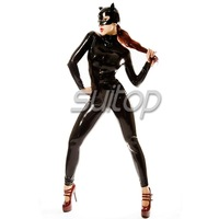 Suitop black catsuit latex with polo collar