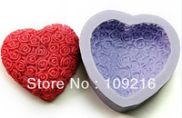 Free shipping!!!1pcs Big Love with Rose(R1003) Silicone Handmade Soap Mold Crafts DIY Mold