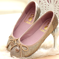 2013 spring genuine leather flat-bottomed single shoes gommini plus size women's loafers shoes 40 - 43 Large 44.45