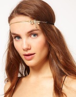 Cute Gold Chains Dragonfly Crystal Hair Cuff Headband Hair Accessories Boho Punk