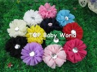"Fashion 2.4"" solid chiffon hair flower with clear stone for baby,hair accessories,baby flower,kids hair accessories,50pcs/lot"