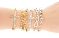 Min.order is $10(can mix order)New fashion rhinestone 8 infinity cross love letter bracelet bangle charm bracelet set (3pcs/set)