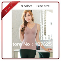 fashion women's seamless camisole push up body shapers Modal slimming 8 colors vest spiral tops underwear Free shipping