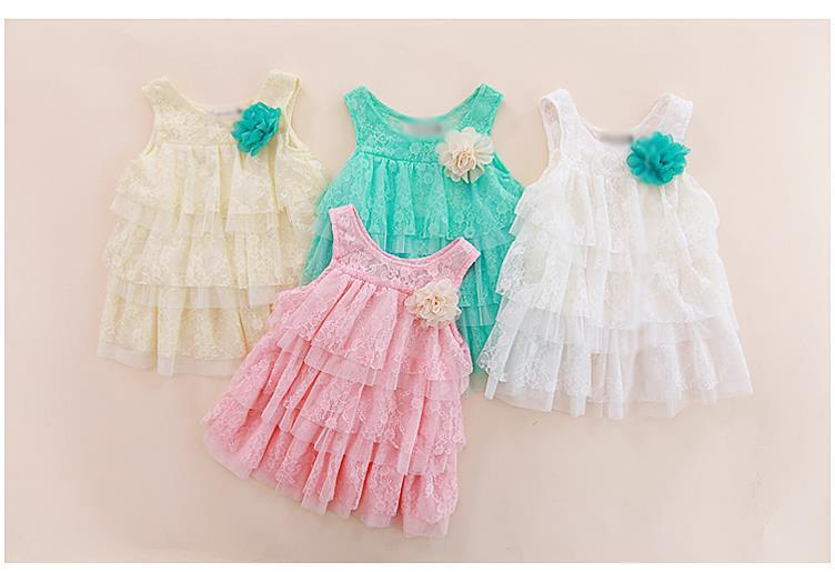 New 2013 infant baby girls lace dresses children clothing for autumn -summer kids princess flower tutu dress 4colors(China (Mainland))