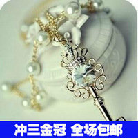 free shipping 1444 accessories crystal key multi-layer pearl long design necklace female necklace  free shipping