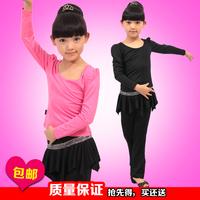 Child dance leotard clothes female child autumn long-sleeve Latin dance clothes young children culottes set