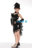 Child Latin dance clothes female child competition clothing tassel skirt paillette one piece modern dance set costume