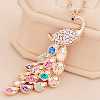 free shipping K099 necklace female peacock long design crystal long necklace fashion accessories  free shipping