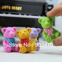Free Shipping Creative Cartoon Colorful Bear Eraser Super Cute!! Promotional Eraser 10pcs/lot