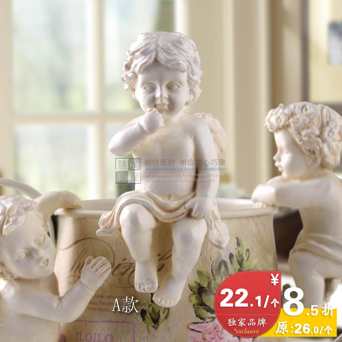 Set home decoration resin little angel flower pot for Angels decorations home