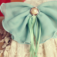 Large size chiffon bow hair accessory tassel hair accessory spring clip