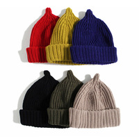 Autumn and winter knitted hat Korean version pointy hat cap solid color casual high-top onion wool cap Free Shipping MZ82