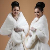 Plus Size 150x50cm White /Black Wide Soft Bridal Faux Fur Wrap Shrug Stole Shawl Wholesale Free Shipping Winter