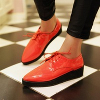 Brothel creepers 2013 spring fashion vivi fashion pointed toe leather small platform women's shoes lacing shoes