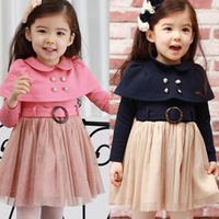 2013 autumn children's clothing cloak female girls  long-sleeve princess one-piece dress blue and pink color