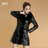 Genuine leather clothing female long design leather trench sheepskin fox fur slim outerwear