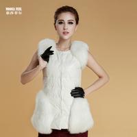 2013 genuine sheepskin leather down vest slim leather vest fox fur leather vest
