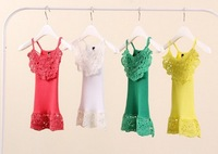 summer autumn baby girls candy colors falbala  t shirt girl's lace hook flower vest/tops, 10pcs/lot
